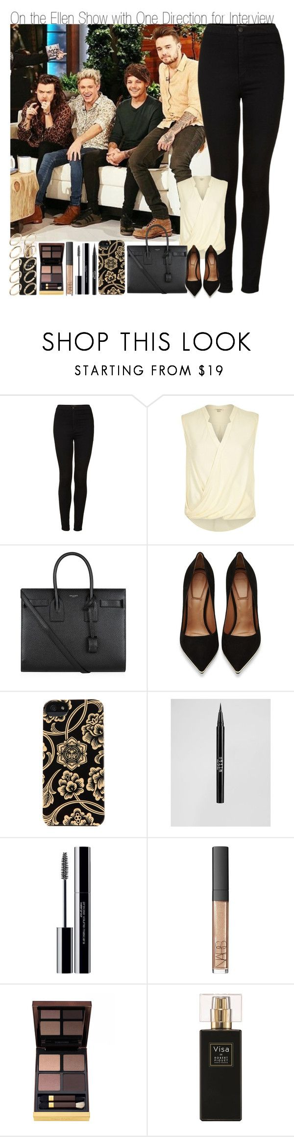 """On the Ellen Show with One Direction"" by elise-22 ❤ liked on Polyvore featuring Topshop, River Island, Yves Saint Laurent, Givenchy, Incase, Stila, shu uemura, NARS Cosmetics, Tom Ford and Robert Piguet"
