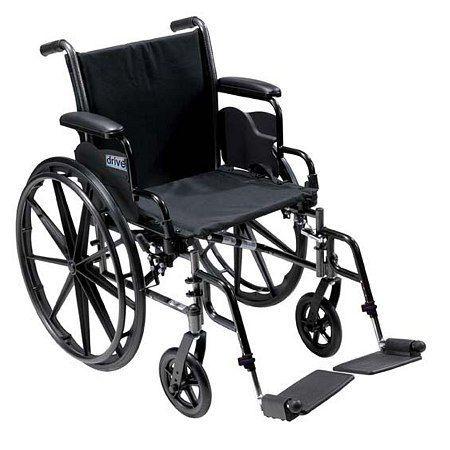 Drive Medical Cruiser III Lightweight Wheelchair w FlipBack Removable Adj Desk Arms & FootRest 16 Inch - 1 ea