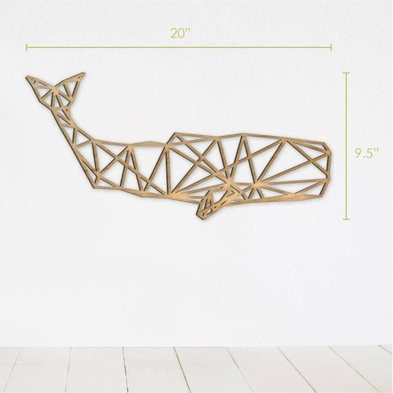 Geometric Whale Wall Art, Wooden Animal Decor, Rustic Home Decor, Farmhouse Decor