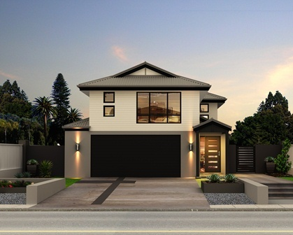 Germaine 210 Facade B, Double Garage is a very functional four bed, two bathroom + powder room, two storey family home, designed for a minimum of 12.5m frontage. The home features a open plan living area, opening out to a alfresco area. The stylish master suite includes a walk in robe and en-suite. Double car garage. This home has a very nice workable design at an affordable price. This is a 210 sqm home. OJ Pippin can build this home on your land or we can source land in your desired area.