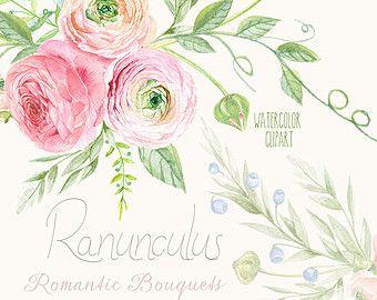 Bouquet di ranuncolo e tulipani. Hand Drawn Clip di ReachDreams