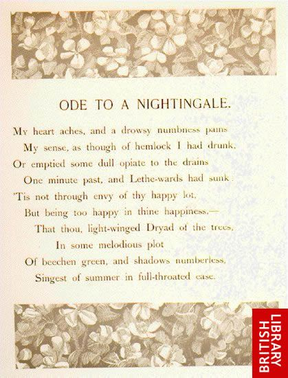"an analysis of the poem ode to a nightingale by john keats John keats's ""ode to a nightingale"" begins with no introduction: the poet describes himself in a profound state of mental torment, as if drugged into a sleep."