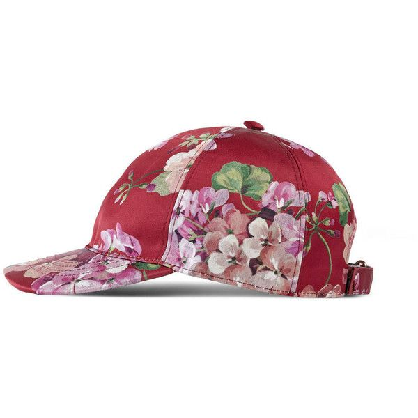 Gucci Blooms Silk Baseball Hat ($335) ❤ liked on Polyvore featuring accessories, hats, cerise, gifts, gifts for her, floral baseball hat, silk hat, gucci hat, baseball hats and floral ball cap