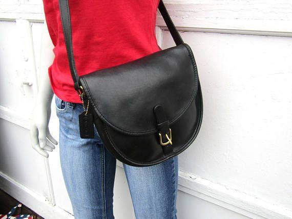 Vintage Coach Bag // Black Leather Trail/Saddle Buckle Bag //