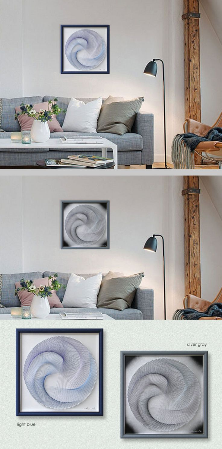 Home interiors and gifts framed art - Blue Or Silver Mandala 3d Zen Wall Art Modern Abstract Home Decor Extra Fine Handmade String Art Framed Meditation Feng Shui Gift