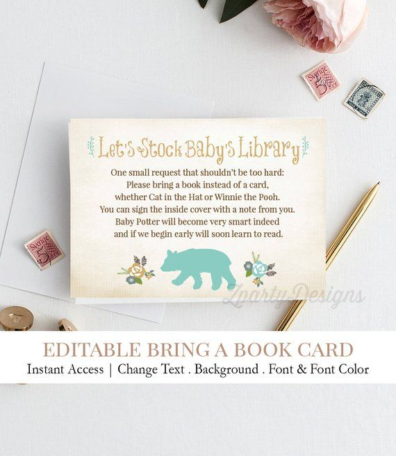 Baby Boy Bring A Book Card Instead Of A Card One Small Etsy Baby Shower Book Template Printable Wood Card