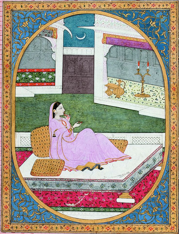 A nayika watches the moonrise and waits for her lover - Series Title: Connoisseur's Delight, Rasikapriya, Artist: Sajnu, ca. 1820 Edwin Binney 3rd Collection The San Diego Museum of Art