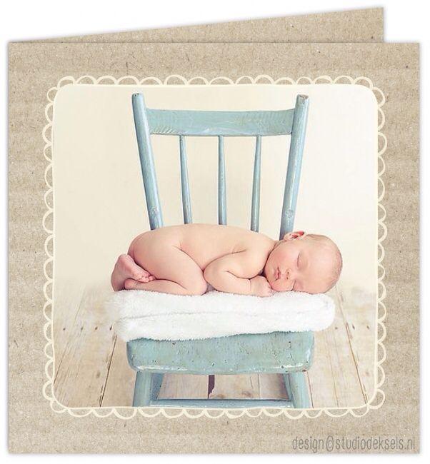 Studio Deksels • geboortekaartje • ribbelkarton • foto • newbornshoot • kartelrandje • kader