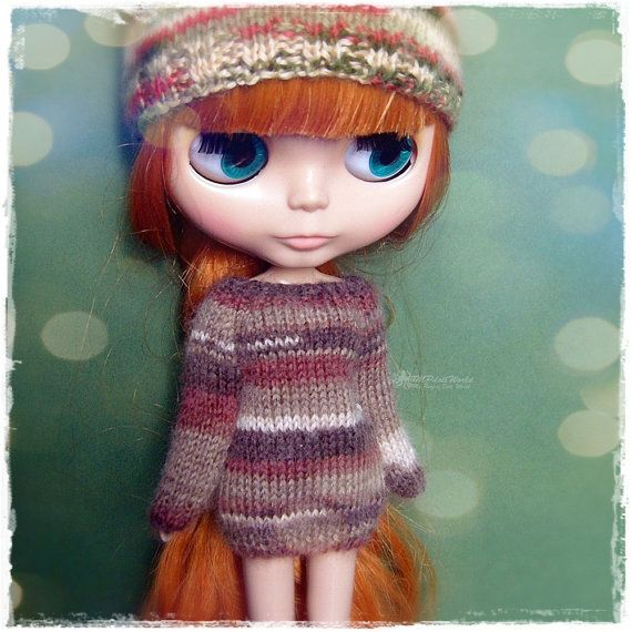 OOAK Blythe Sweater, Jumper, Pure Neemo, Licca, Takara, Pullip, Dal - Knitted Multicolor Brown Sweater #112