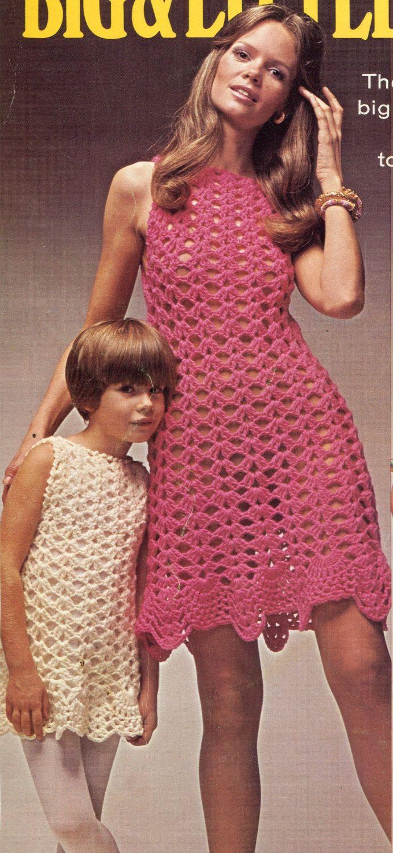 era Fabulous #1970's Matching mommy and me #Crochet #Dresses PATTERNS. 1.95, via Etsy.