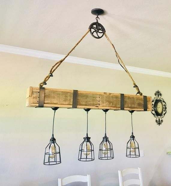 Rustic Beam Pendant Lighting With Pulley Hook Beams Pendant