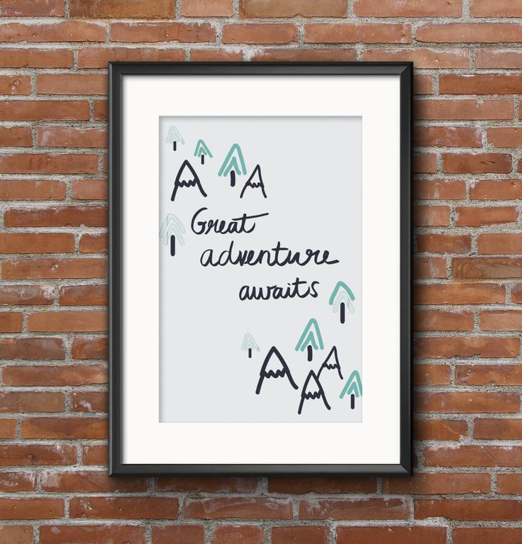 Great Adventures digital download, digital print, hand lettering, typographic print, children art, adventure home decor by MerkyandMoo on Etsy