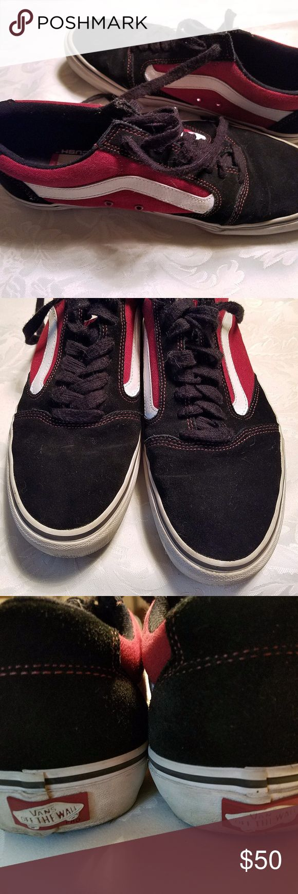 "VANS TNT 5 Skate Shoes Black/Dark Red Vans ""Off The Wall"" Ultracush Pro Skate Shoes. Canvas and Suede Upper. Classic Vans Waffle Sole. Gel Heel Insert.  VN-0L2ZBDK  Color: Black/Dark Red Size 9.5   Used in good condition. Vans Shoes Athletic Shoes"