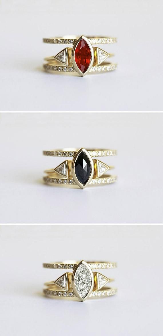 One ring, three ways: Etsy seller Capucinne's glam stacking wedding ring sets prove the transformative power of a colored stone. Which version is your favorite? #etsyweddings