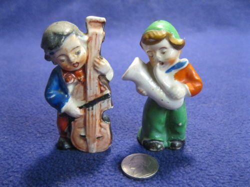 Vintage Saxophone Bass Playing Boys Salt and Pepper Shakers Ceramic           36