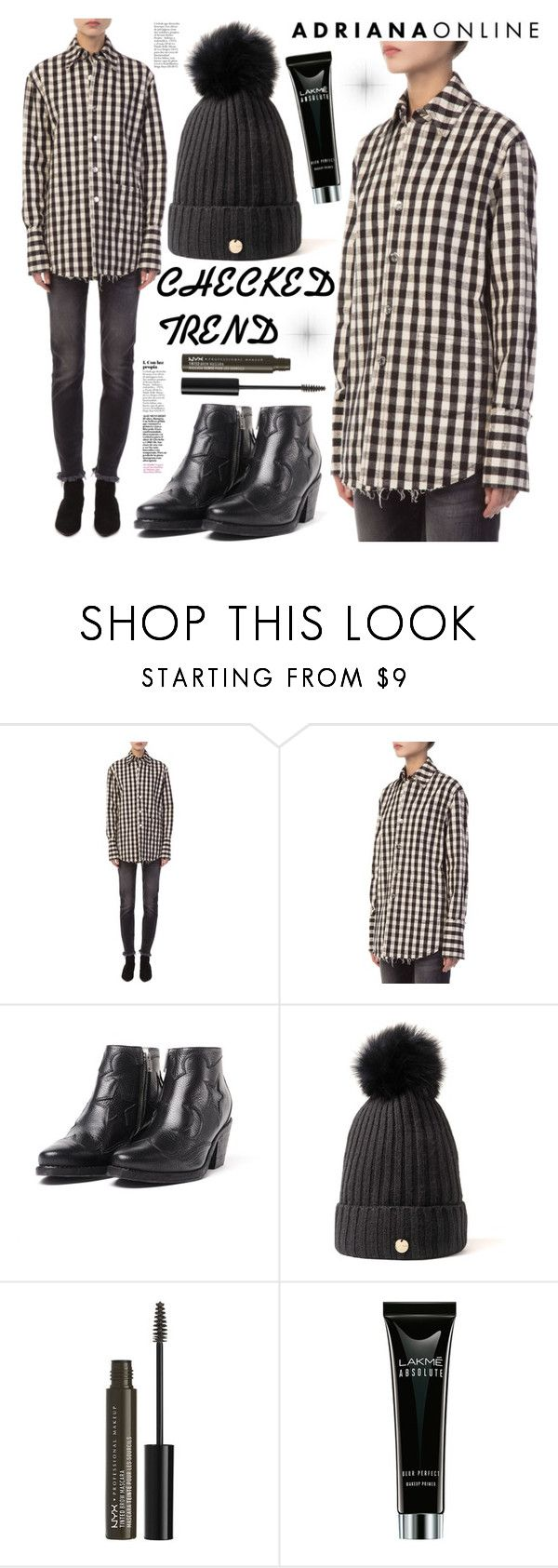 """""""ADRIANA ONLINE: Checked Trend"""" by gaby-mil ❤ liked on Polyvore featuring NYX"""
