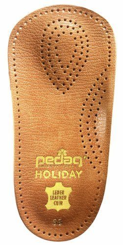 Pedag 17947 Holiday 3/4 Leather Ultra Light, Thin, Semi-Rigid Orthotic with Metatarsal Pad, Arch Support and Padding at the Heel, Tan, Women's 9 by Pedag. $18.83. Low profile fits almost any shoe; Ideal for limited toe room or open toes. 3/4 orthotic without semi-rigid arch and plantar vault support, metatarsal pad and heel cushion; Breathable vegetable tanned leather. Made in Germany. Increases endurance and prevents fatigue; Great when walking, running, or standing for lon...