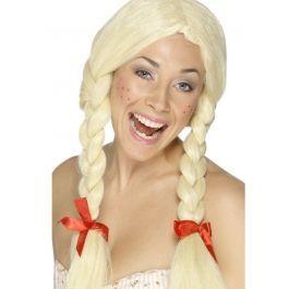 Deze grappige  Heidi pruik heeft de twee typische blonde vlechten van een Duitse bier dame. De pruik heeft een scheiding in het midden en de lange vlechten beginnen ter hoogte van de oren en heeft rode strikjes aan het einde van de vlecht. De vlechten zijn geproduceerd door Smiffy's. Leuke aanvulling op een Heidi of Oktoberfest pakje.