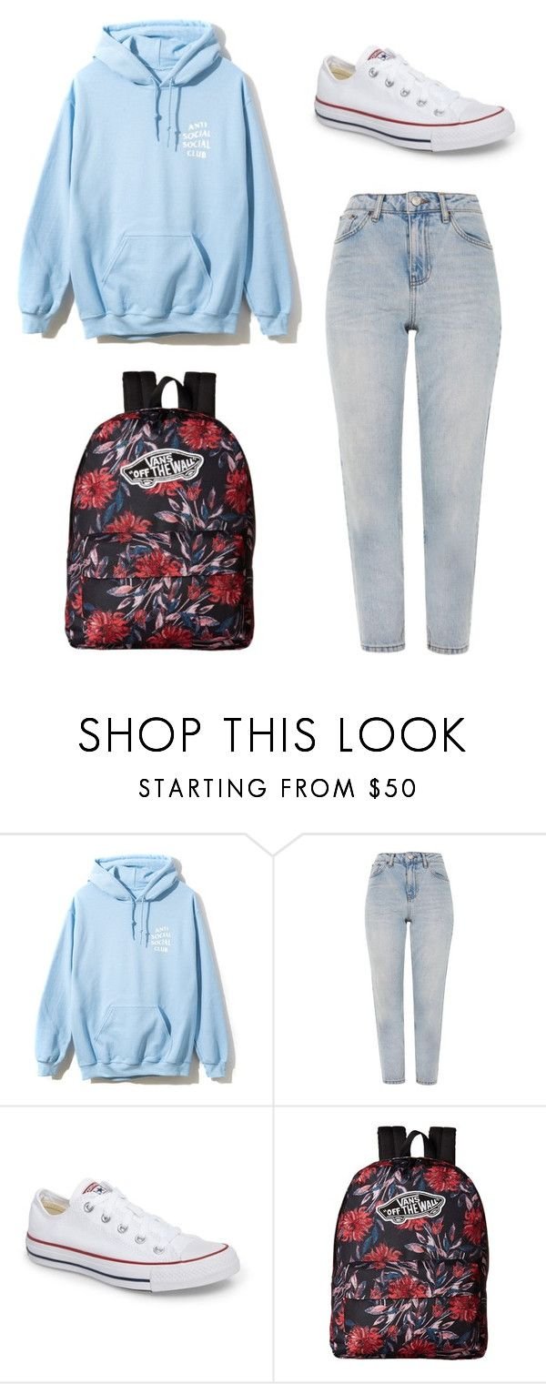 """""""Four for Fashion #FFF11"""" by afifahafifa on Polyvore featuring Topshop, Converse, Vans, hoodie and babyblue"""