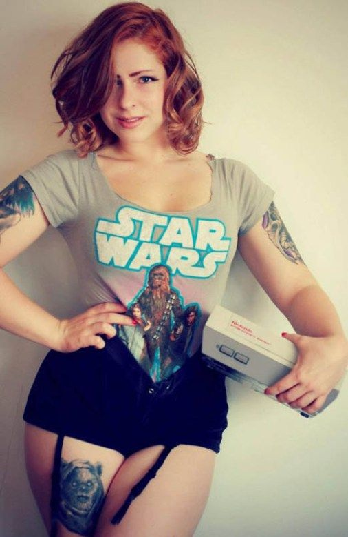 Mmmm, is there anything better than a curvy tattooed woman with an NES? #inked #inkedgirls #inkedmag #sexy #nerdy #dirty #curvy #beauty