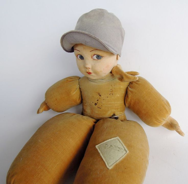 "16"" stuffed velveteen Dutch Boy doll, Shropshire, England, United Kingdom, 1935-37, by Norah Wellings for Victoria Toy Works."