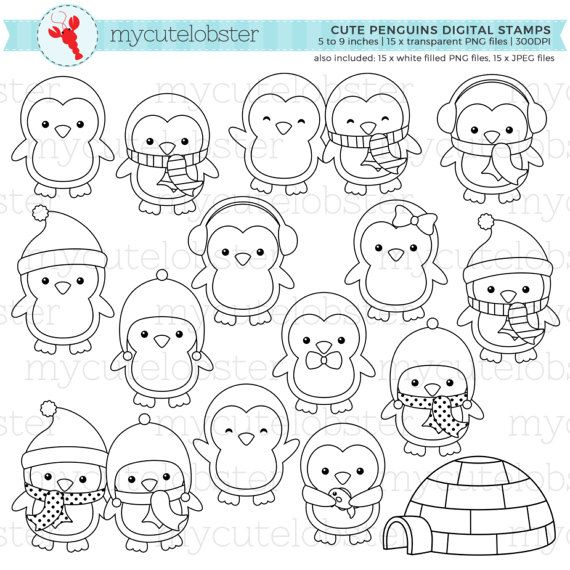 Cute Penguins Digital Stamps – penguin outlines, line art, igloo, stamps, coloring – personal use, small commercial use, instant download – 미정 김