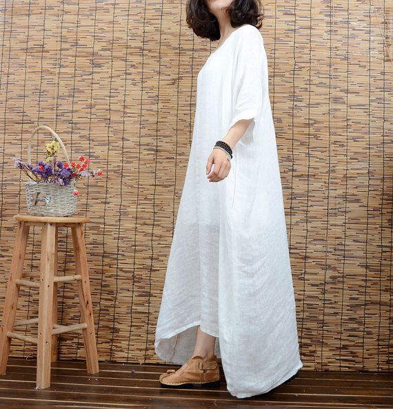 Witte tuniek jurk zomer jurk linnen jurk groot door newstar2016