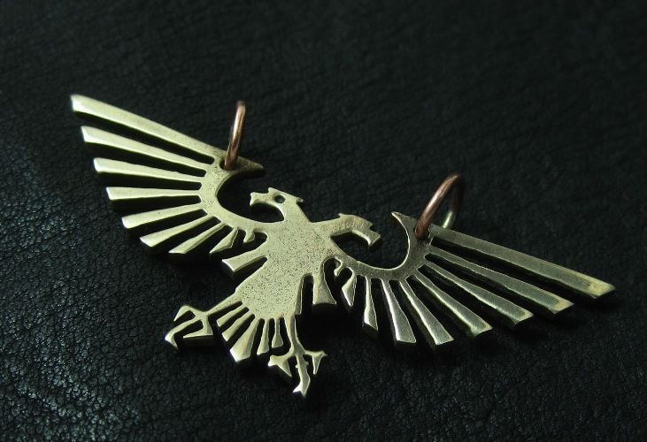 Bronze Imperial Eagle pendant. Warhammer 40000. W40K. Aquila. Emperor. Mankind. #Pendant