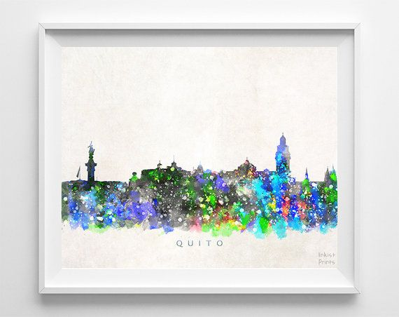 Quito Skyline Print Watercolor Painting Ecuador by InkistPrints