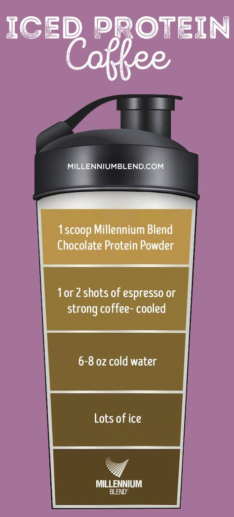 Protein Iced Coffee Ingredients:  1/2 or 1 full scoop MB Chocolate Protein Powder 6-8 ounces of cold water 1 or 2 shots of espresso or strong coffee (cooled) lots of ice Shake protein powder and cold water in a shaker bottle. Add in cooled coffee and shake again. Fill up tall cup with ice and pour shaker bottle mixture in.