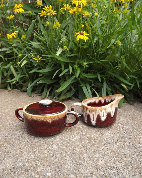 Brown Sugar and Creamer Set / Vintage Ceramic by ForsythiaHill