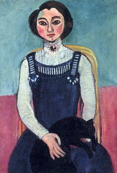 Henri Matisse, 1910, Meisje met zwarte kat, privé collectie.