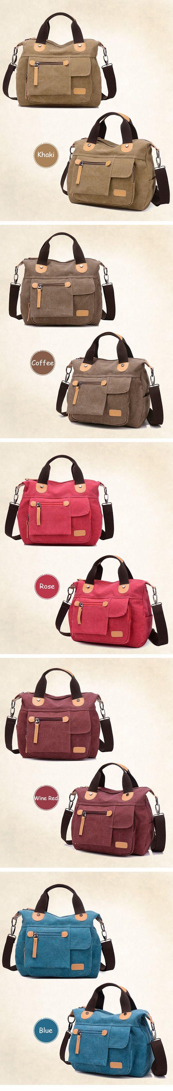 Women Canvas Casual Large Capacity Functional Multi Pocket Handbag Shoulder Bag Crossbody Bag