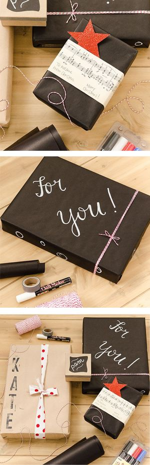perfect for the holidays! chalkboard and kraft paper gift wrap DIY.