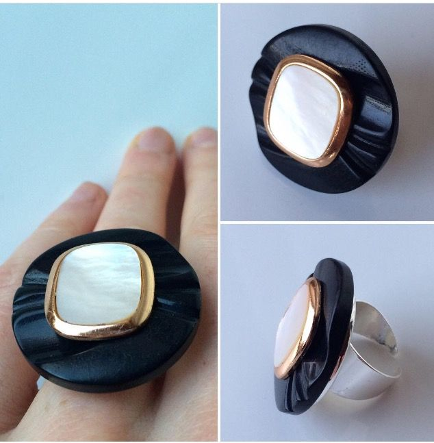 Matte black and shiny white ring made of two beautiful old buttons.  Redesign. Ecofriendly. Sustainable.