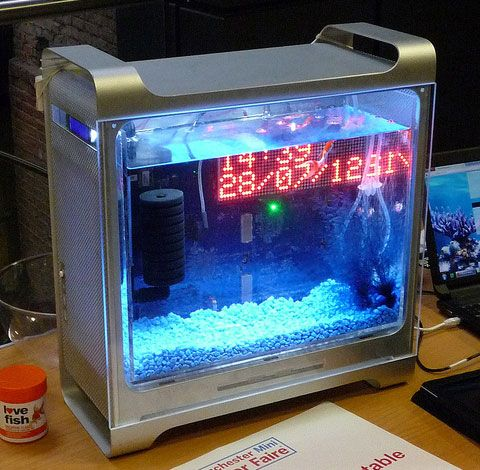 This bespoke fishtank is built into an apple mac g5 case for Fish tank calculator