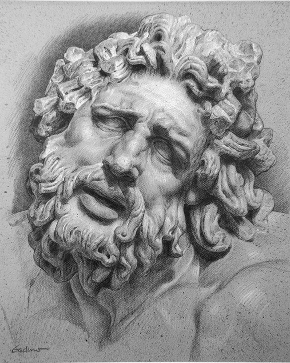 Академический рисунок головы Лаокоона.