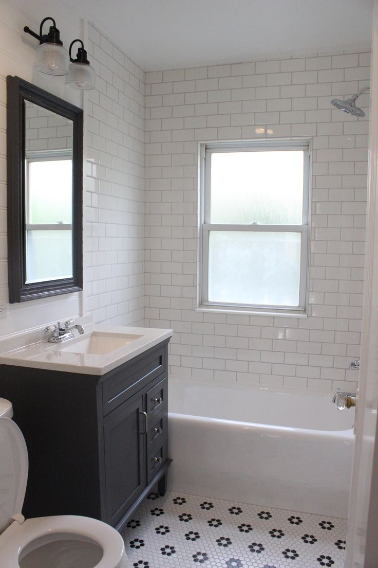 Farmhouse Style Bathroom Remodel | White Subway Tile Shower | Gray Vanity |  Black And White Part 97