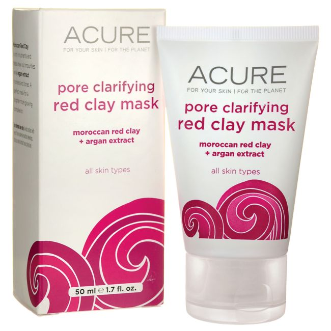 Acure Pore Refining Red Clay Mask | 1.7 fl oz Cream | Skin Care