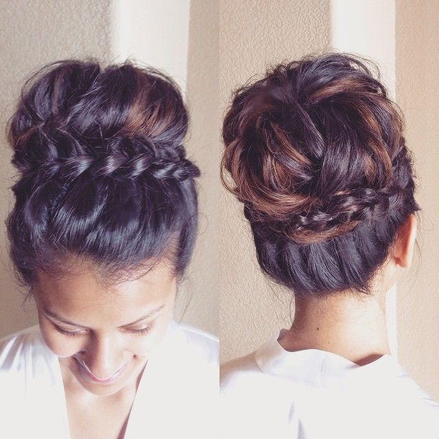 """Today's bride wanted a messy almost-sock-bun inspired bun with a braid. She showed me a few photos for inspiration and then we just went for it this morning. I love how it came out! She looks like a princess "" Photo taken by @heidimariegarrett on Instagram, pinned via the InstaPin iOS App! http://www.instapinapp.com (06/05/2015)"