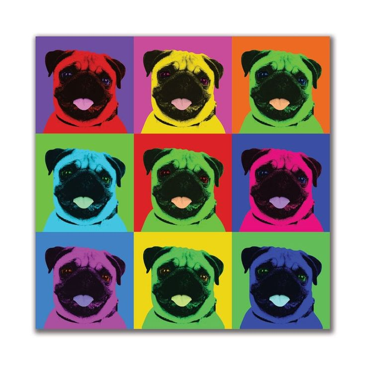 Pug Pop Art Repeating Squares 4x4in. Square Decal Sticker