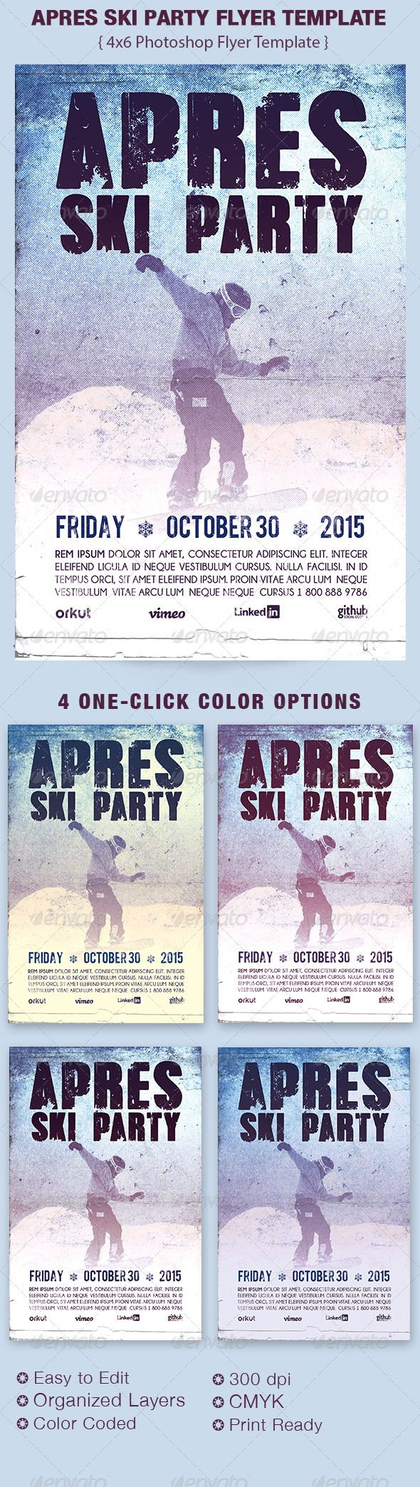 Apres Ski Party Flyer Template - $6.00 The Apres Ski Party Flyer Template is great for any winter Party or concert event. In this package you'll find 1 Photoshop file. 4 One-Click color options are included. All layers are arranged, color coded and simple to edit. Sold exclusively on graphicriver.net