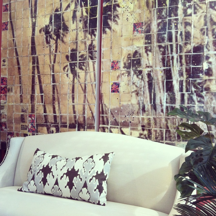 Jai Vasicek's (Ahoy Trader) palm trees with our Hamptons sofa and Kelly Wearstler Bengal Bazaar custom cushion. @ fig