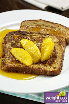 Healthy Breakfast Recipes: French toast with Cinnamon Oranges. #HealthyRecipes #DietRecipes #WeightlossRecipes weightloss.com.au