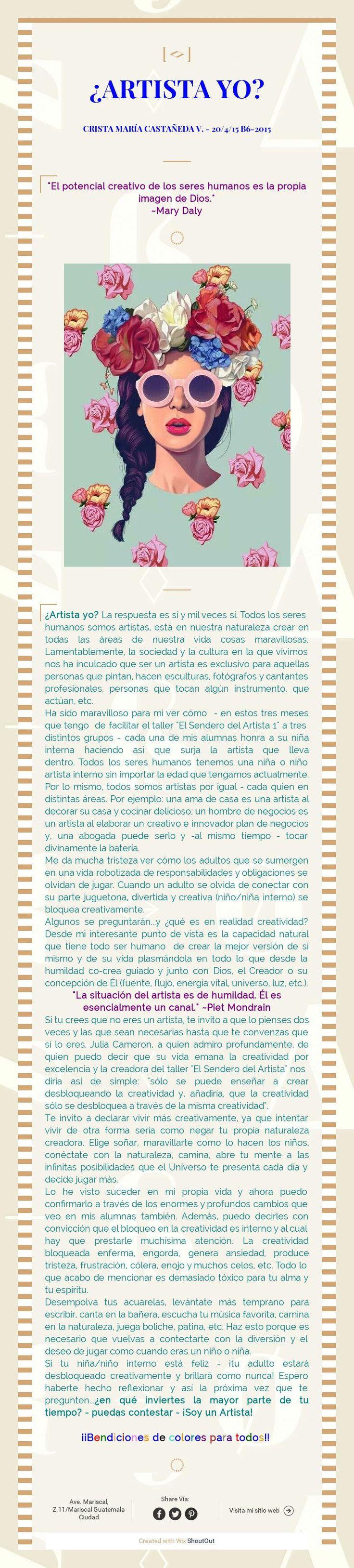 ¿ARTISTA YO?Crista maría castañeda v. - 20/4/15 B6-2015