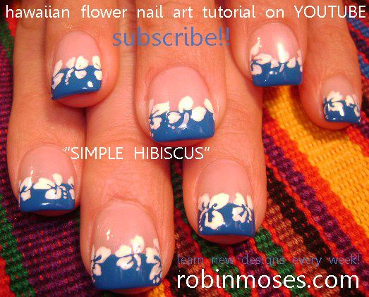 Nail-art by Robin Moses: black and silver mylar foil butterflies nail art design, hibiscus flower nail art, blue and white flower nail, short nail natural nail art designs.