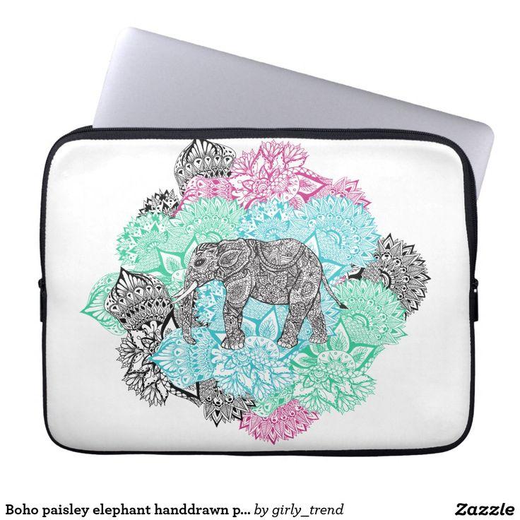 Boho paisley elephant handdrawn pastel floral laptop sleeves