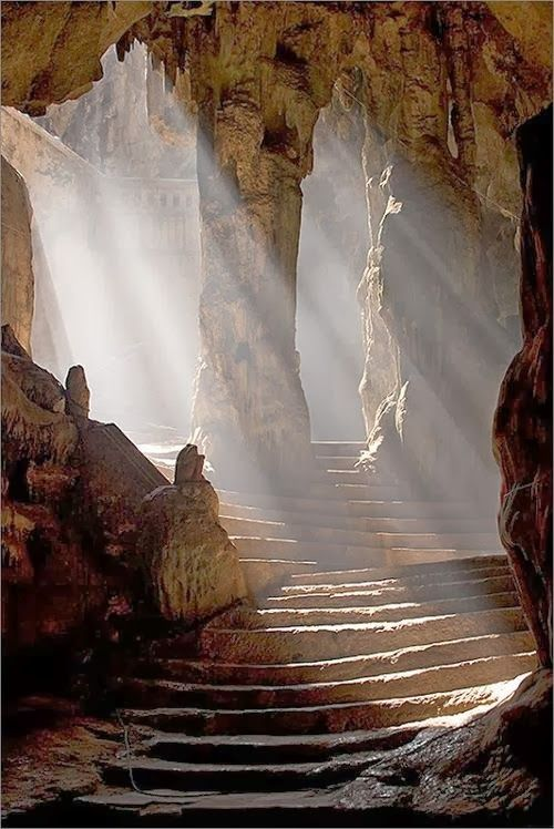 Not sure of the location, but this is a wonderfully surreal shot.  The original tag is for: Khao Luang Cave, Thailand