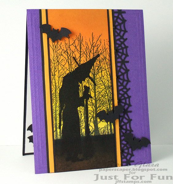Just For Fun Rubber Stamps: Salem Witch - http://www.jffstamps.com/proddetail.asp?prod=E3461 Tree Line - http://www.jffstamps.com/proddetail.asp?prod=H3641 Halloween