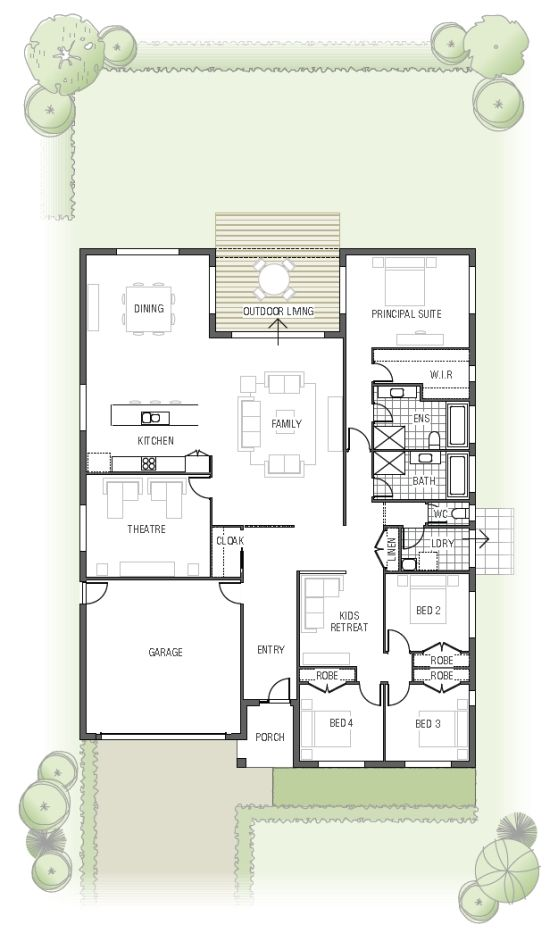 need to get rid of all those rooms to the right, have a detached garage and use the theater room as a spare room.
